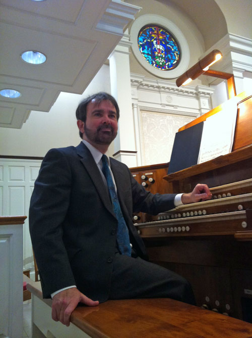 Organist Robert Reilly at Front Street UMC